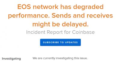 Криптовалютная биржа @coinbase на протяжении нескольких дней производит отправку и получение средств в EOS в ограниченном режиме. В Coinbase утверждают, что причиной стало снижение производительности сети.
